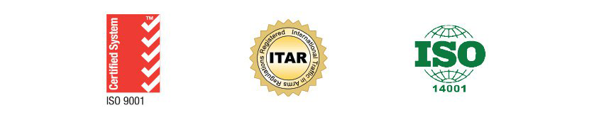 ISO 9001 Certified, ITAR Registered, and ISO 14001 Certified